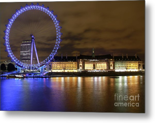 London Eye @ Night Metal Print by Ronald Monong