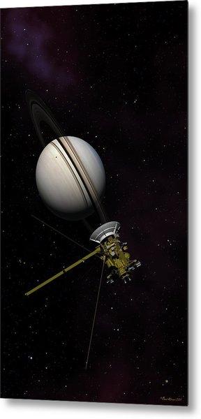 Lone Sentinel At Saturn  Metal Print