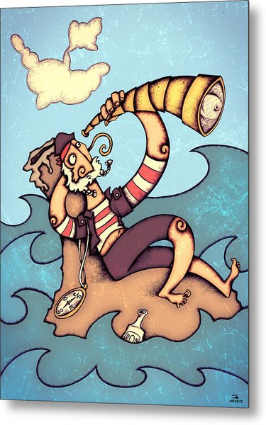Lonely Pirate Metal Print