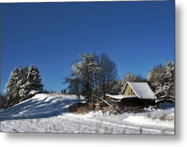 Lonely Rural Log Hut Brought By Snow Metal Print by Aleksandr Volkov