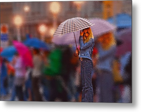 Lonelyredhead In The Rain Metal Print by Don Wolf