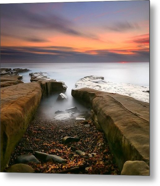 Long Exposure Sunset At A San Diego Metal Print