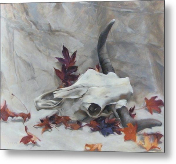 Longhorn With Leaves Metal Print