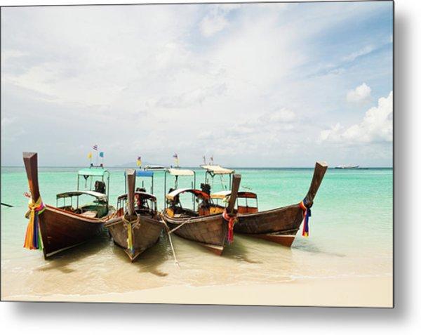Longtail Boats At Phi Phi Island, Thailand Metal Print by Melissa Tse