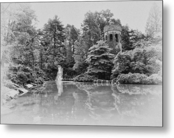 Longwood Gardens Castle In Black And White Metal Print