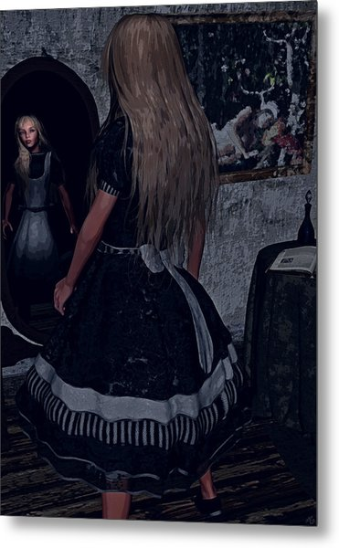 Looking Glass Alice Metal Print