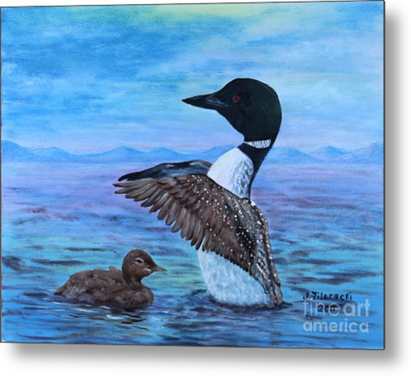 Loon Mother And Baby Metal Print