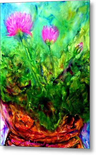 Lotus Flowers On My Balcony Metal Print
