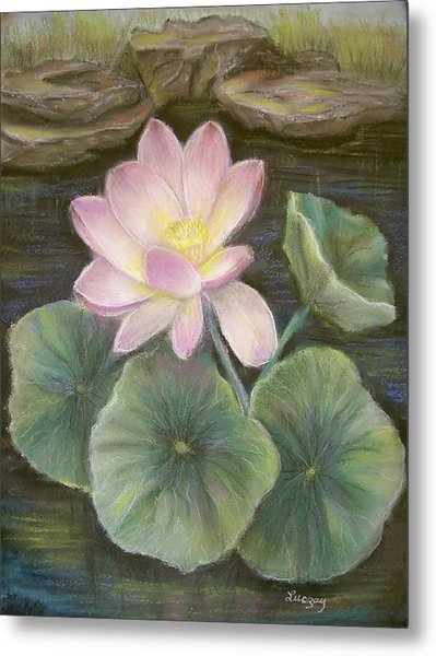 Metal Print featuring the painting Lotus by Katalin Luczay