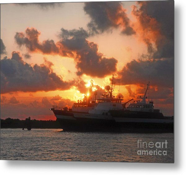 Louisiana Sunset In Port Fourchon Metal Print