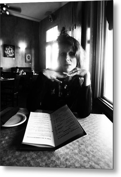 Lovely Lady In A New Orleans Cafe Metal Print
