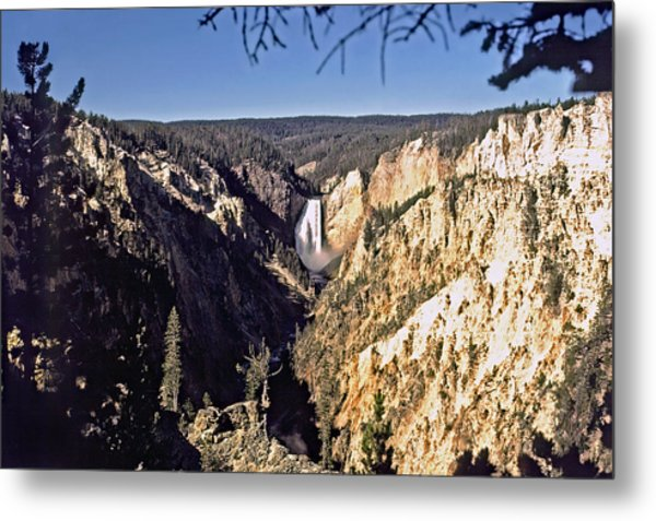 Lower Falls On The Yellowstone River Metal Print by Rod Jones