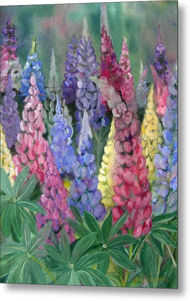 Metal Print featuring the painting Lupines by Paula Robertson