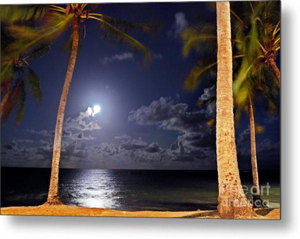 Maceio - Brazil - Ponta Verde Beach Under The Moonlit Metal Print