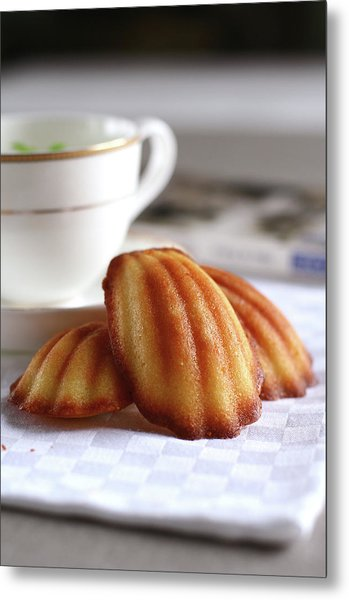 Madeleines With Tea Metal Print by Lulu Durand Photography