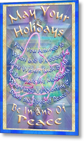 Madonna Dove And Chalice Vortex Over The World Holiday Art With Text Metal Print