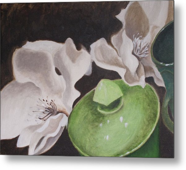 Magnolias With Green Sugar Bowl Metal Print