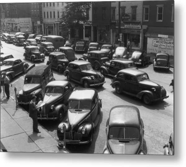 Main Street Parking Metal Print by Archive Photos
