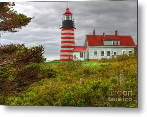 Maine Lighthouse At Lubec. Metal Print by Rick Mann