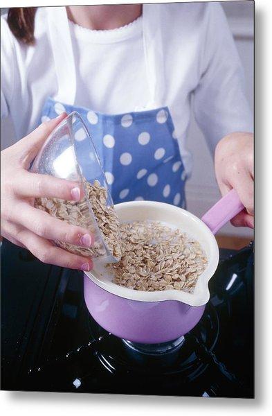 Making Porridge From Oats Metal Print