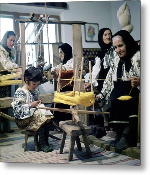 Making Wool Clothing In Vrancea Romania Metal Print