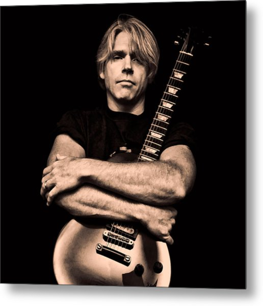 Male Guitarist Metal Print by Trudy Wilkerson