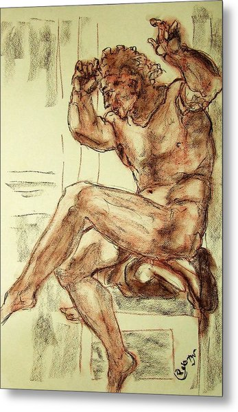 Male Nude Figure Drawing Sketch With Power Dynamics Struggle Angst Fear And Trepidation In Charcoal Metal Print