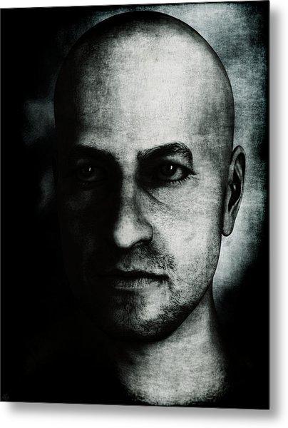 Male Portrait - Black And White Metal Print