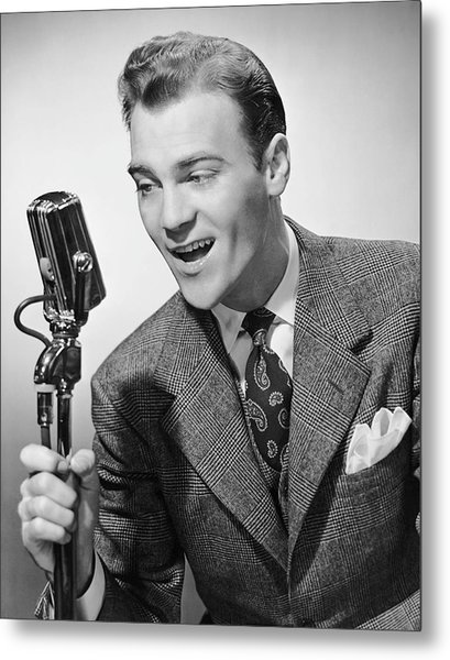 Male Singer Holding Microphone Metal Print by George Marks