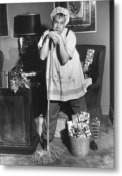 Man Dressed As Cleaning Woman In Office Metal Print by George Marks