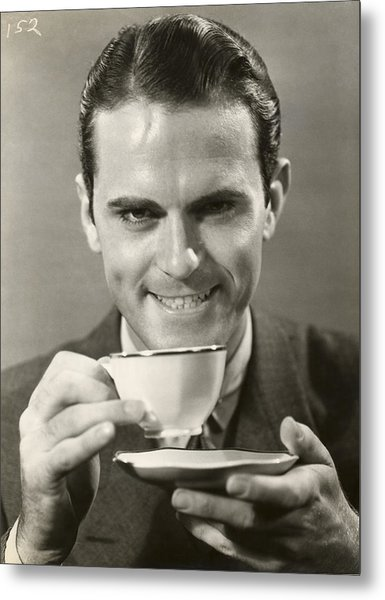 Man Drinking Cup Of Coffee Metal Print by George Marks