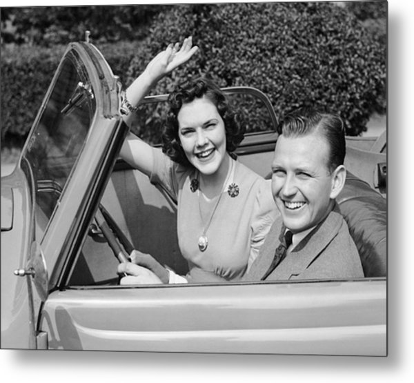 Man Driving Car And Woman Waving Metal Print by George Marks