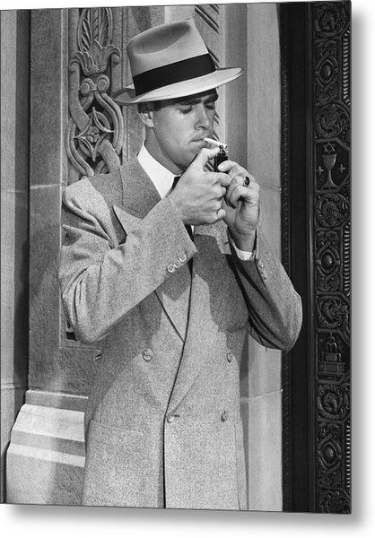 Man Lighting Cigarette Metal Print by George Marks