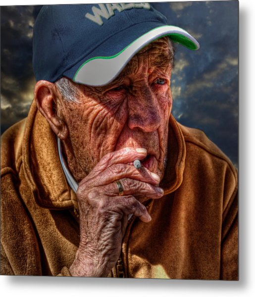 Man Smoking Metal Print