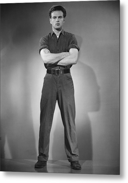 Man Standing W/arms Crossed At Chest Metal Print by George Marks