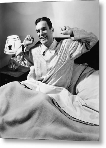 Man Stretching In Bed, (b&w), Metal Print by George Marks
