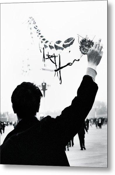 Man With A Kite Metal Print