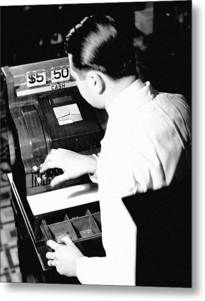 Man Working At Register Metal Print by George Marks