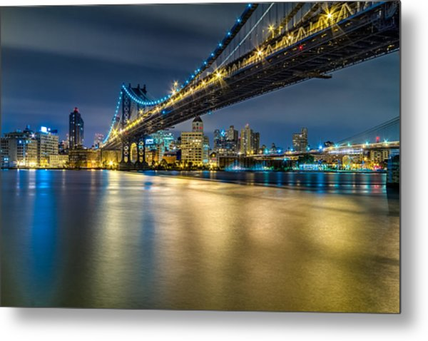 Manhattan Bridge And Downtown Brooklyn At Night. Metal Print
