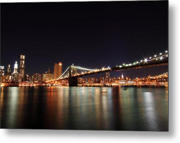 Manhattan Nightscape With Brooklyn Bridge Metal Print by Kean Poh Chua