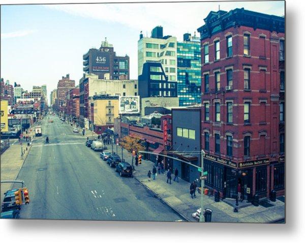 Manhattan Street Scene Metal Print by Nancy Kennedy