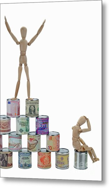 Mannequins On A Banknotes Pyramid Metal Print