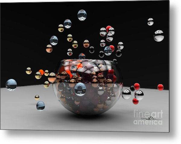 Marbles Fall Metal Print