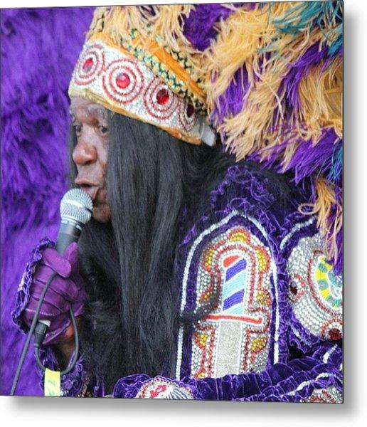 Mardi Gras Indian Sings At Jazz Fesr Metal Print