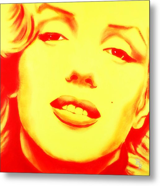 Marilyn Monroe - Yellow Red Metal Print