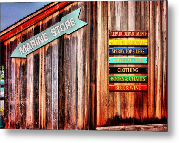 Marina Store Signs Metal Print by Trudy Wilkerson