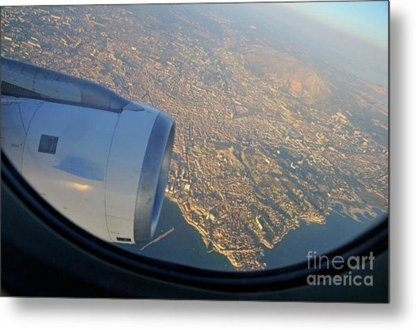 Marseille City From An Airplane Porthole Metal Print by Sami Sarkis