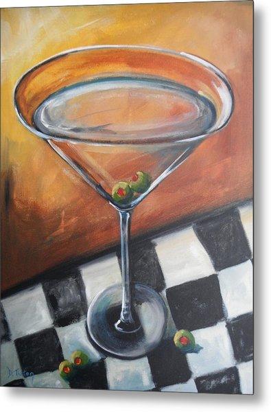 Martini On Checkered Tablecloth Metal Print