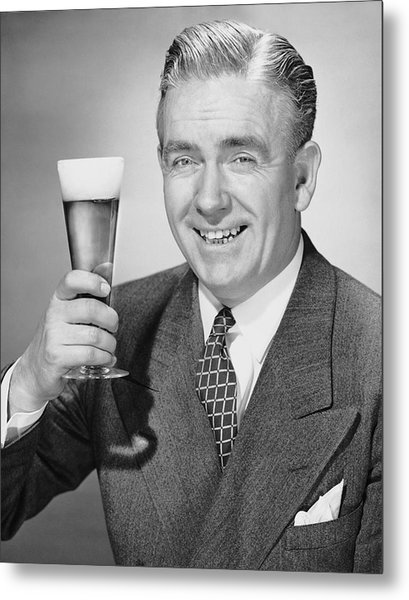 Mature Businessman W/ Beer Metal Print by George Marks