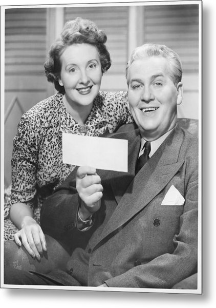 Mature Couple Posing, Man Holding Check, (b&w), Portrait Metal Print by George Marks